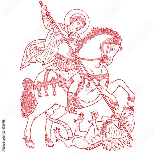 Fotografie, Obraz Saint George on horse slaying a dragon vector illustration