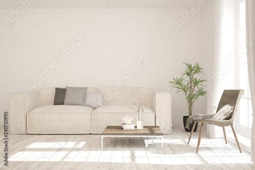 Fototapeta White stylish minimalist room with sofa. Scandinavian interior design. 3D illustration obraz na płótnie