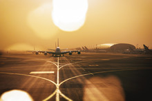 Airliners Qued Up To Tax From Dubai Airport