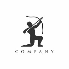 Silhouette Archer Logo Vector