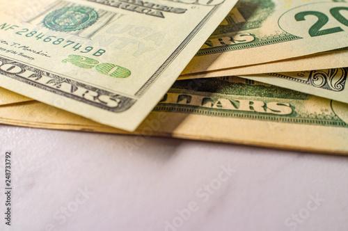Fotografie, Obraz  Twenty Dollar Bills Pile