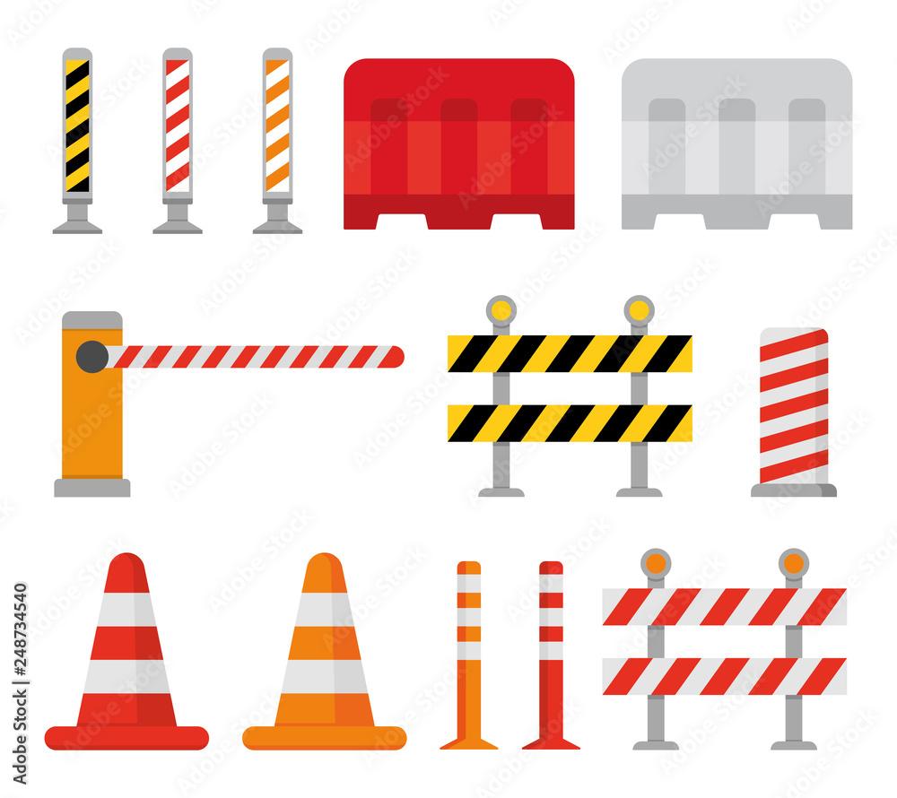 Fototapeta Road barrier and street barriers set. Vector