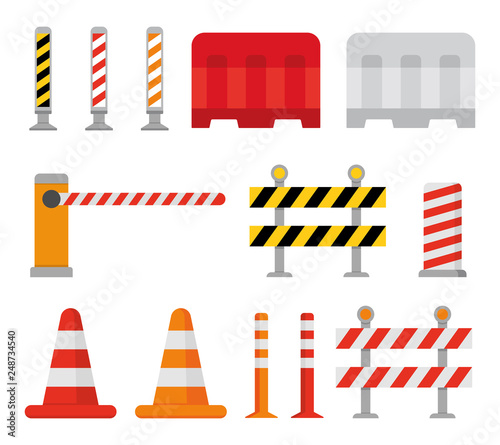 Road barrier and street barriers set. Vector Canvas Print