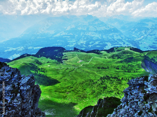 Keuken foto achterwand Groene Alpine plateau Malun with seasonal pastures - Canton of St. Gallen, Switzerland