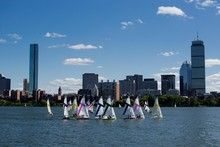 The Boston Skyline Along The Charles River One A Beautiful Summer Day.