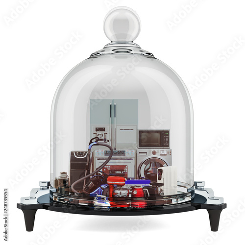 Fotografía  Household and kitchen appliances under glass bell, guarantee and protection concept