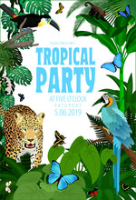 Vector Summer Rainforest Jungle Tropical Beach Party Flyer Design Card With Toucan, Macaw, Jaguar And Buterflies