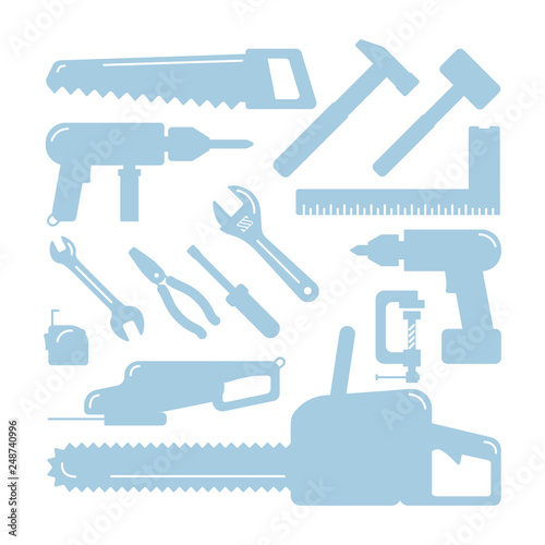 Wall Murals F1 Tools silhouettes. Home Wizard Toolkit, vector DIY blue icons on white. Wrench and hammer, drill and screwdriver, tape measure and saw