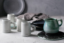 Set Of Grey Rustic Coffee Cup ...