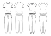 Blank Male And Female Round Neck Raglan T-shirt And Sweatpants In Front, Back Views. Clothing Templates. Fashion Set. Casual, Sport Style. Active Wear. Vector Illustration. Isolated On White.