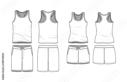 Obraz Blank male and female tank top and swimming shorts in front, back views. Clothing templates. Fashion set. Casual, sport style. Active wear. Vector illustration. Isolated on white. - fototapety do salonu