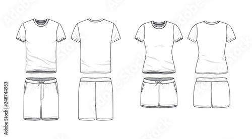 Fotografía  Blank male and female round neck t-shirt and swimming shorts in front, back views