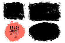 Vector Set Of Big Hand Drawn Brush Strokes, Stains For Backdrops. Monochrome Design Elements Set. One Color Monochrome Artistic Hand Drawn Backgrounds Various Shapes.