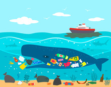 Environmental Disaster Accident On An Oil Tanker And The Release Of Oil Into The Ocean Against The Background Of Plastic Garbage In The Ocean.