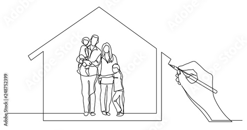 Tablou Canvas hand drawing business concept sketch of happy family home