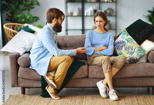 Fényképezés  family couple quarrels in a conflict at home.