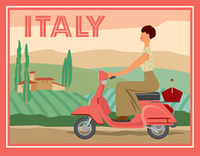 A Girl On A Motor Scooter Rides Against The Background Of A Rural Italian Landscape. Retro Card. Vector Graphics