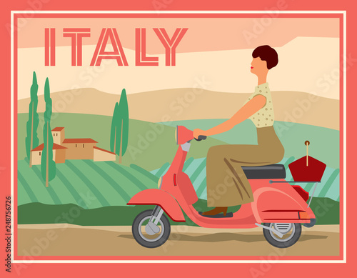 A girl on a motor scooter rides against the background of a rural Italian landscape Fototapeta