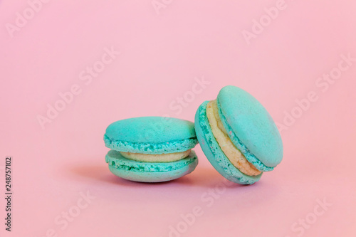 Sweet Almond Colorful Unicorn Blue Macaron Or Macaroon Dessert Cake Isolated On Trendy Pink Pastel Background French Sweet Cookie Minimal Food Bakery Concept Copy Space Buy This Stock Photo And Explore