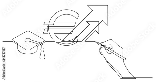 Hand Drawing One Line Business Concept Sketch Of