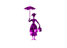 Silhouette Girl Floats With Umbrella In His Hand, Purple Flowers Silhouette, Vector Isolated Or White Background