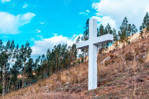 Fotografie, Obraz  Cruz situada en la subida a Shaullo Cajamarca Perú