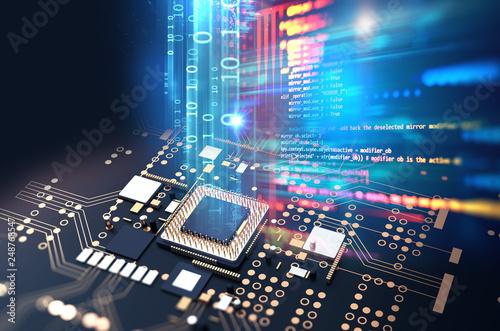 Pinturas sobre lienzo  3d rendering  of futuristic blue circuit board