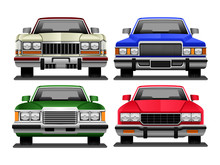 Set Of Vector Ilustrations Of Retro 1970s Cars 2