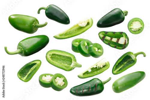 Jalapeno peppers, whole sliced, paths Canvas Print
