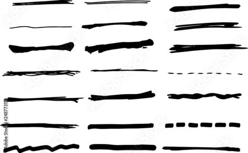 Photo  Black analog line drawn by handwriting set