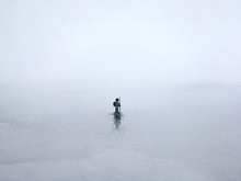 Watercolor Traditional Silhouette Landscape The Man Walking Alone Man Through Misty Fog.