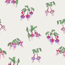 Fuchsia Flowers Seamless Vector Floral Pattern. Ivory Background And Bright Flowers.