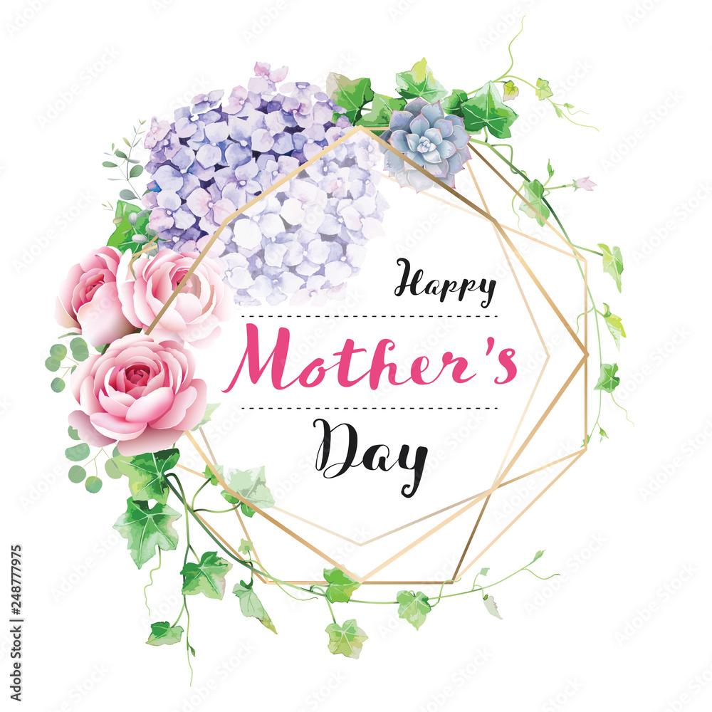 Szczęśliwy dzień matki kartkę z życzeniami z wieniec z kwiatów i zieleni.