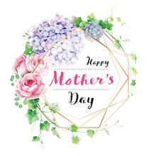 Happy Mother's Day Greeting Card With With Wreath Of Flowers And Greenery.