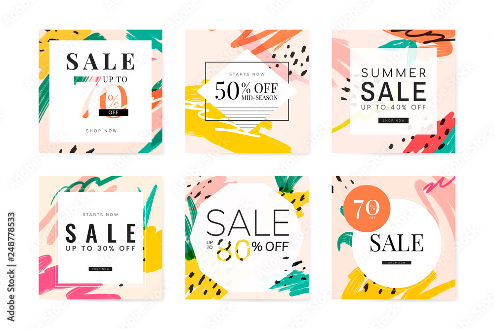 Fototapety, obrazy: Memphis summer sale design collection