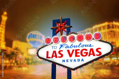 Fotografie, Obraz  Welcome to fabulous Las vegas Nevada sign with blur strip road background