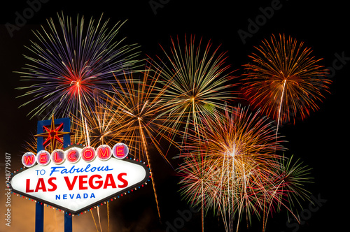 Fotografie, Obraz  Welcome to fabulous Las vegas Nevada sign with firework background