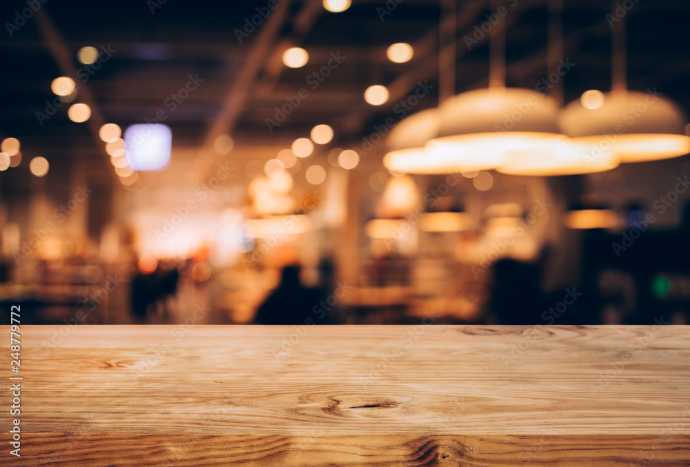 Fototapety, obrazy: Wood texture table top (counter bar) with blur light gold bokeh in cafe,restaurant background.For montage product display or design key visual