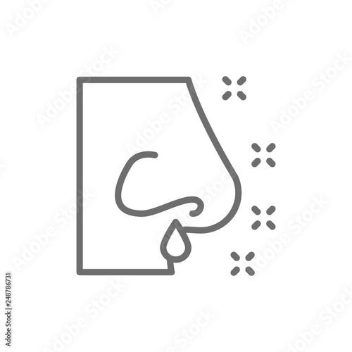 Valokuva  Runny nose, rhinitis, allergy, nasal mucus line icon.