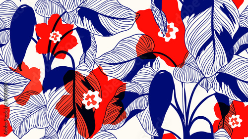 Tropical plants seamless pattern, Pink Princess philodendron and flowers on light brown background, line art ink drawing in blue and red tones