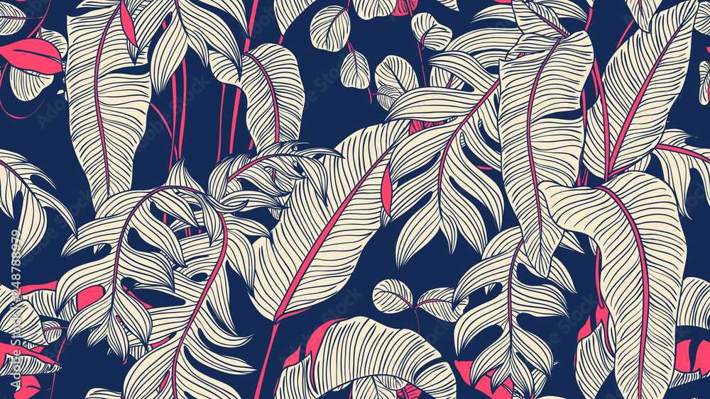 Fototapeta Tropical plants seamless pattern, Bird of paradise, Selenicereus chrysocardium and Hoya obovata on blue background, blue and pink tones