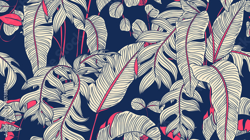 Tropical plants seamless pattern, Bird of paradise, Selenicereus chrysocardium and Hoya obovata on blue background, blue and pink tones