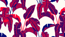 Tropical Plants Seamless Pattern, Bird Of Paradise On Light Brown Background, Line Art Ink Drawing In Red And Blue Tones