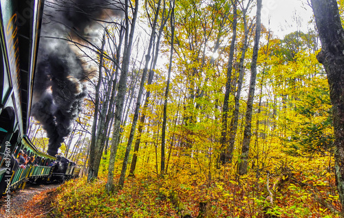 Photo  An old vintage train with thick black smoke making its way through the forest in West Virginia, with beautiful fall colors and foliage
