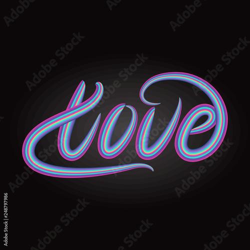Photo  Love lettering word design. Vector illustration.