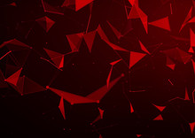 Abstract Background With Red Triangles In Space - Modern Futuristic Graphic Illustration, Vector