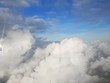 Sky and cloud with the sun shining photo from airplane, cloudscape concept, Space for text in template