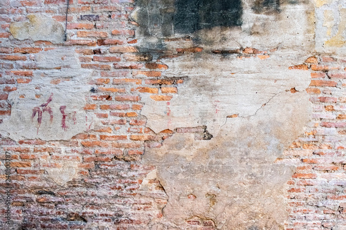 Poster Graffiti Cracked concrete vintage wall background, old brick wall