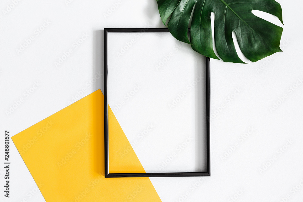 Fototapety, obrazy: Summer composition. Tropical palm leaves, yellow paper blank, photo frame on pastel gray background. Summer concept. Flat lay, top view, copy space