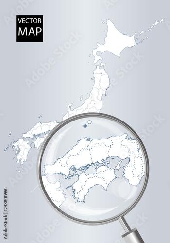 日本地図(グレー):虫眼鏡で拡大された四国・中国・山陰地方の地図|日本列島 ベクターデータ